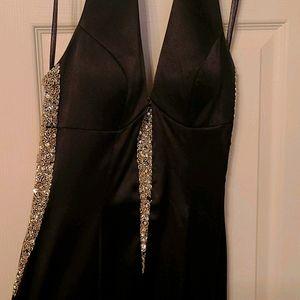 Black Prom Formal Dress with Rhinestones
